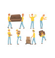 couriers carrying parcels cardboard boxes and vector image vector image