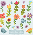 Cute vintage hand drawn flowers set vector image