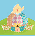 eggs painted with chick in the field happy easter vector image vector image