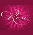 elegant rose lettering on background vector image