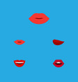 flat icon mouth set of smile teeth kiss and vector image vector image