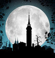 Full Moon with Town Silhouette - Houses and vector image vector image