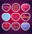 glowing neon valentine signs sticker pack vector image