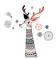graphic portrait ornamental deer vector image