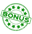 grunge green bonus with star icon round rubber vector image vector image