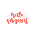 hand drawn lettering quote - hello gorgeous vector image vector image