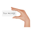 hand with message vector image