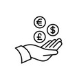 hand with money icons tax return vat refund or vector image