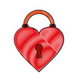 heart padlock flat scribble vector image vector image