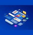 isometric personal data information app identity vector image
