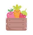 kawaii gardening cartoon happy fruits vegetable in vector image