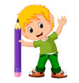 kids boy with big pencil cartoon vector image