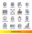 line color gradient side cryptocurrency icons vector image