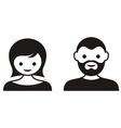 Man and woman face icons vector image vector image
