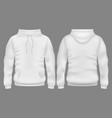 men white blank hoodie in front and back view vector image vector image