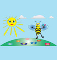 merry little bee keeps a bouquet of flowers vector image vector image