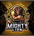 mighty lion esport mascot logo design vector image vector image