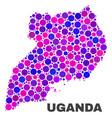mosaic uganda map of round dots vector image vector image