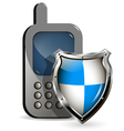 phone and shield vector image vector image