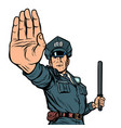 police officer stop gesture isolate on white vector image vector image