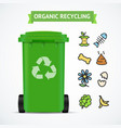 realistic 3d detailed trash bin organic recycling vector image