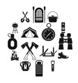 recreation tourism icons set simple style vector image vector image