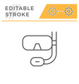 scuba diving mask editable stroke line icon vector image