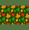 seamless floral pattern with various autumn leaves vector image vector image