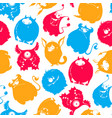 seamless pattern cartoon fluffy monsters vector image vector image