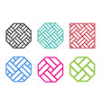 set of octagon chinese pattern window frame vector image vector image