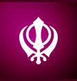 sikhism religion khanda symbol icon isolated vector image vector image