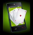 smartphone gambling - poker aces vector image