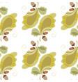 Stylized oak leaves and acorns background vector image