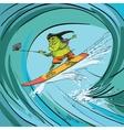 Surfer frog selfie wave vector image vector image