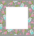 template with a bouquet pink flowers and vector image