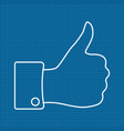 thumbs up icon on bluepri vector image