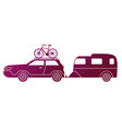 traveling car caravaning tourism automobile vector image