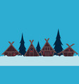 viking village in winter vector image vector image