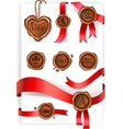 Wax seal and red ribbons collection vector image vector image