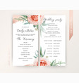 wedding ceremony program floral design blush peach vector image vector image