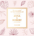 wedding tropical invitation card in pastel colors vector image