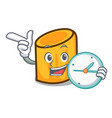 with clock rigatoni character cartoon style vector image vector image
