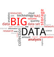 word cloud big data vector image vector image