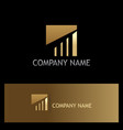 gold square line business logo vector image