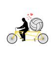 lover volleyball guy and football ball on tandem vector image