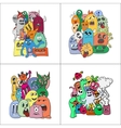 Set of four stickers monsters vector image
