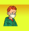 a boy in medical mask vector image