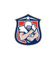 American Football Holding Ball Shield Retro vector image vector image