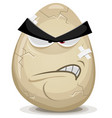angry egg character vector image vector image