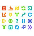arrow button color silhouette icons set vector image vector image